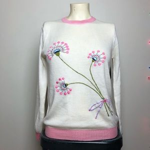Sweaters - Vintage White & Pink Embroidered Flower Sweater